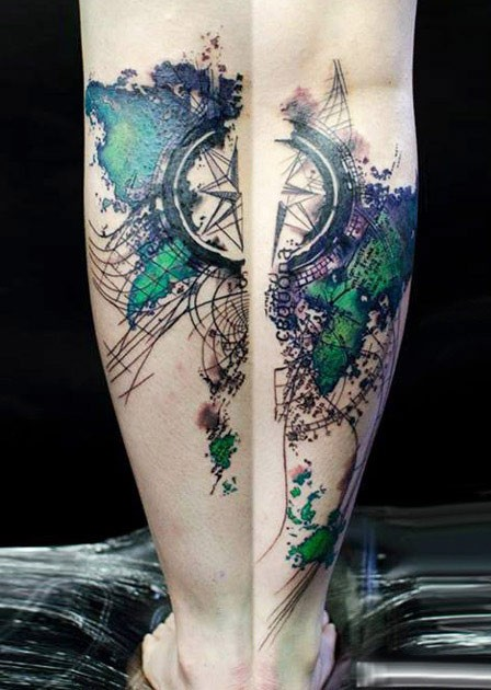 Abstract style colored arm tattoo of world man with compass