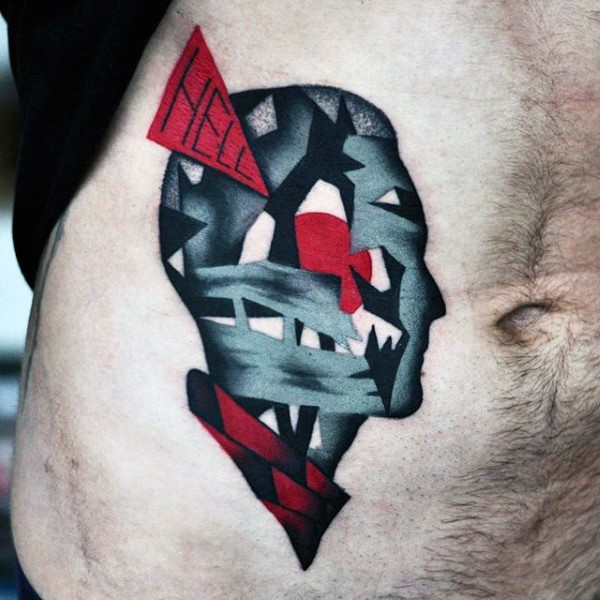 Abstract style colored belly tattoo of mystical man face