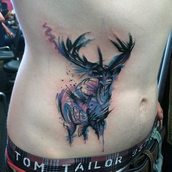Abstract style colored belly tattoo of deer