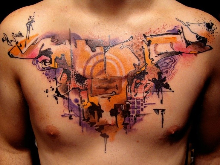 Abstract style colored chest tattoo