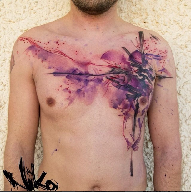 Abstract style colored chest tattoo of mystical ornament