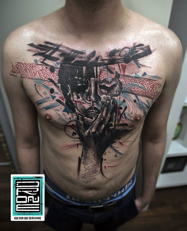 Abstract style colored chest tattoo of woman face with hand and ornaments
