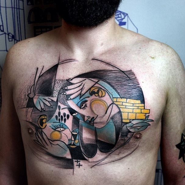 Abstract style colored chest tattoo of various ornaments