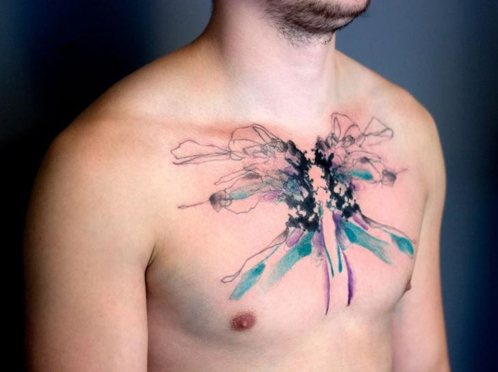 Abstract style colored chest tattoo of big butterfly