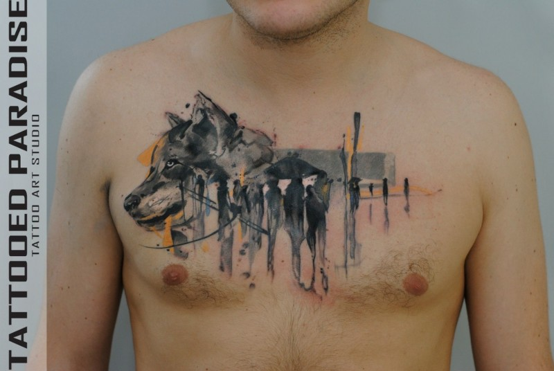 Abstract style colored chest tattoo of wolf