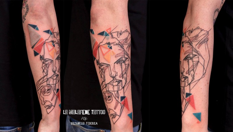 Abstract style colored forearm tattoo of woman face and geometric figured