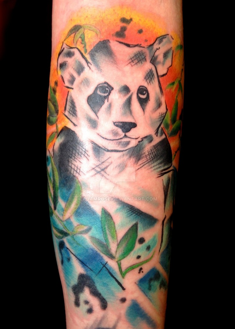 Abstract style colored forearm tattoo of panda bear