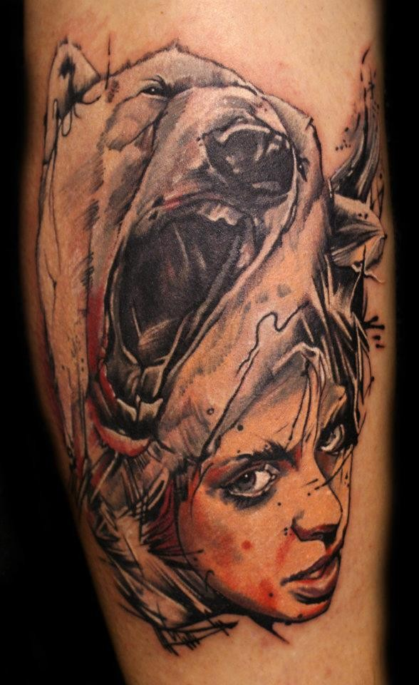 Abstract style colored forearm tattoo of woman portrait with roaring bear