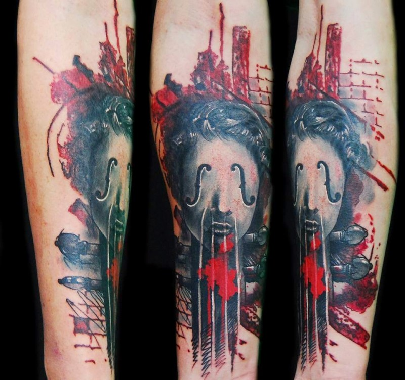 Abstract style colored forearm tattoo of fantasy woman face