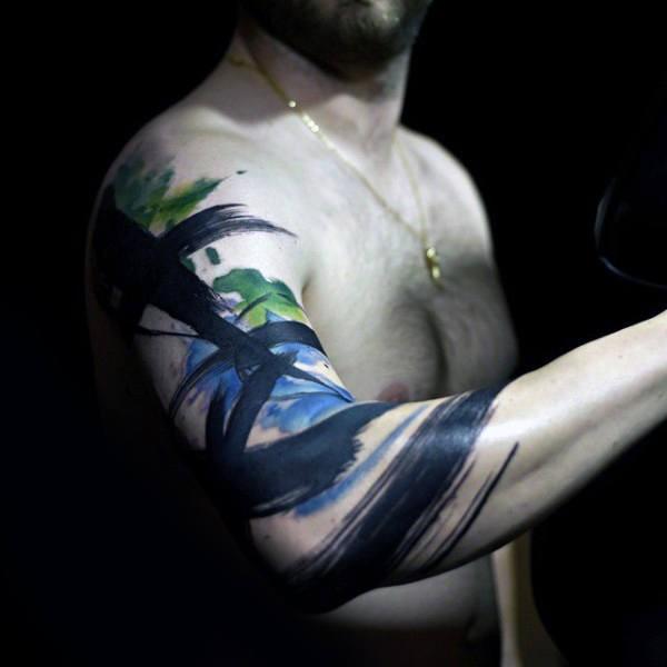 Tatuaggio a mezza manica colorato in stile astratto di grandi linee