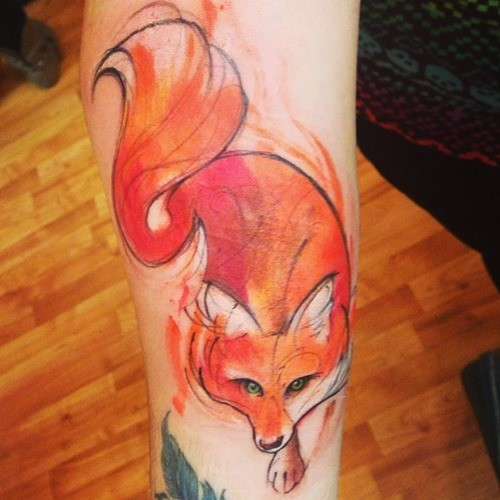 Abstract style colored homemade fox tattoo