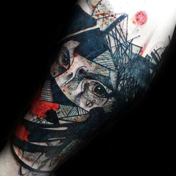 Abstract style colored leg tattoo of mystical man look