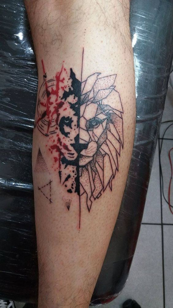 Abstract style colored leg tattoo of lion portrait stylized with geometrical figures