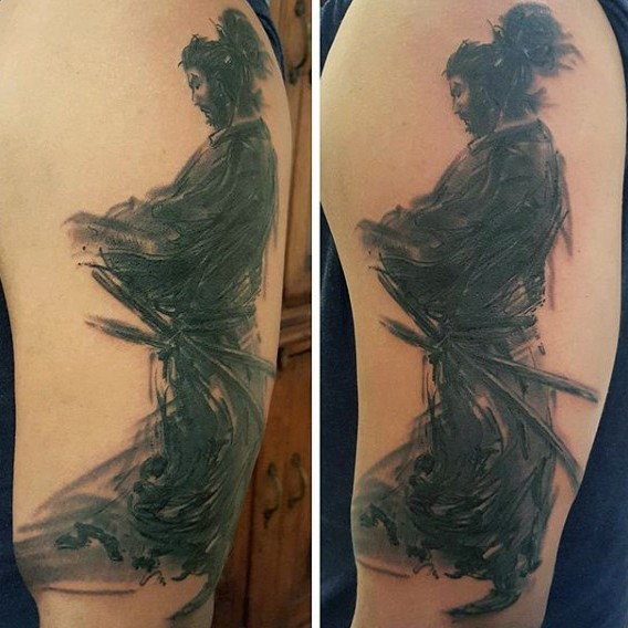 Abstract style colored on shoulder tattoo of mystic samurai warrior
