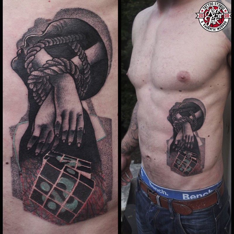 Abstract style colored roped hands with cube tattoo on side