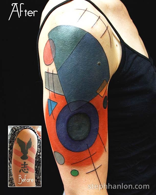 Abstract style colored shoulder tattoo of various figures