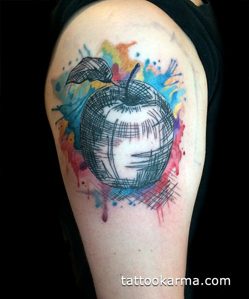 Abstract style colored shoulder tattoo of apple