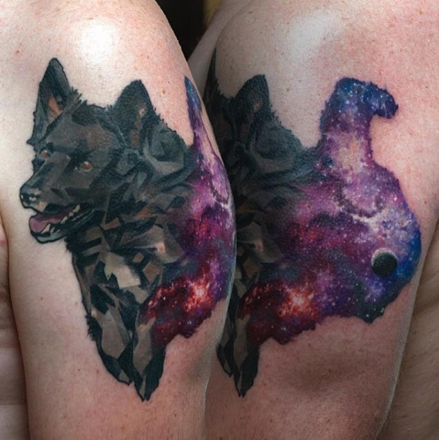 Abstract style colored shoulder tattoo of funny dog with stars