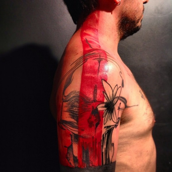 Abstract style colored shoulder tattoo of mystical skull with flowers