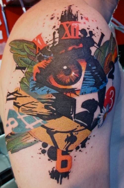 Abstract style colored shoulder tattoo of human eye with clock and leaves