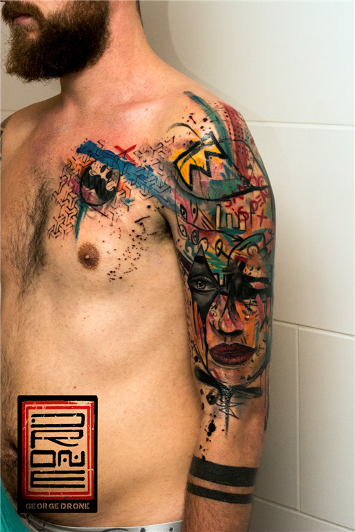 Abstract style colored shoulder tattoo of various pictures