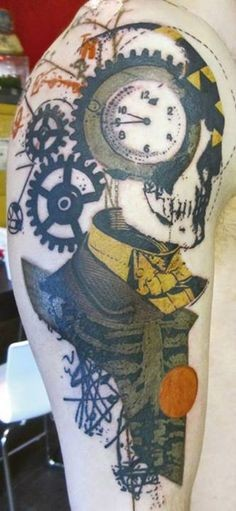 Abstract style colored shoulder tattoo of skeleton with old clock and mechanism