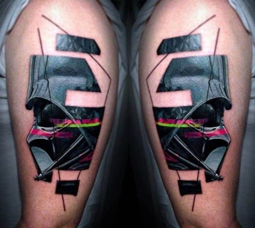 Abstract style colored shoulder tattoo of Darth Vader