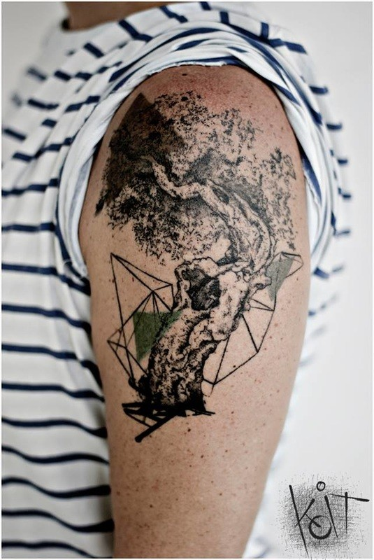 Abstract style colored shoulder tattoo of big tree with ornaments