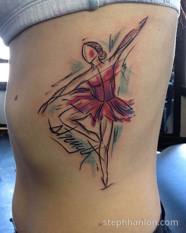 Abstract style colored side tattoo of ballet dancer with lettering