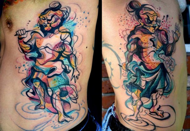 Abstract style colored side tattoo of various funny people