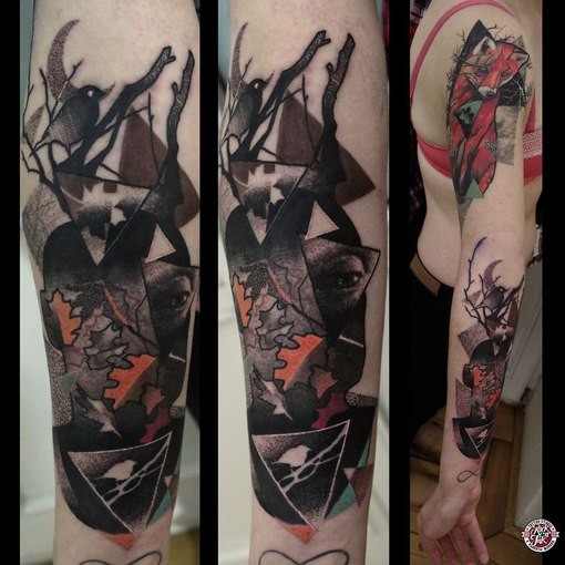 Abstract style colored sleeve tattoo of forest animals