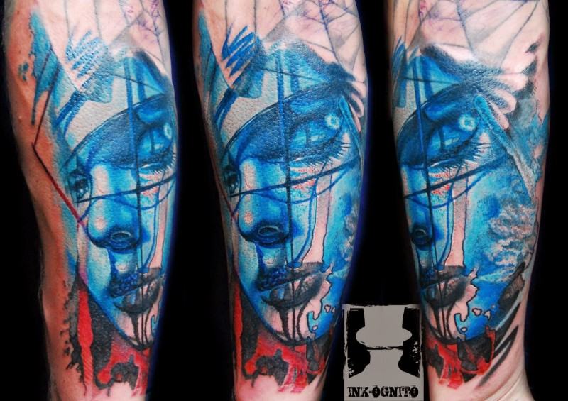 Abstract style colored tattoo of fantasy woman face