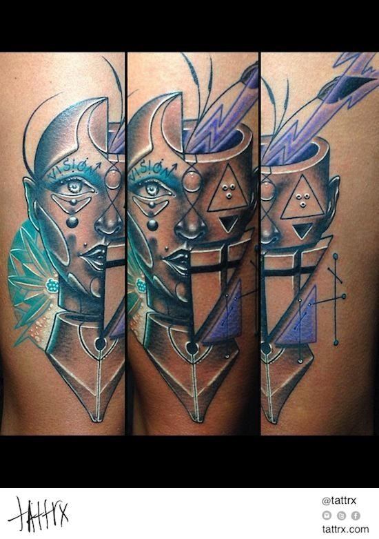 Abstract style colored tattoo of half man half geometrical figures
