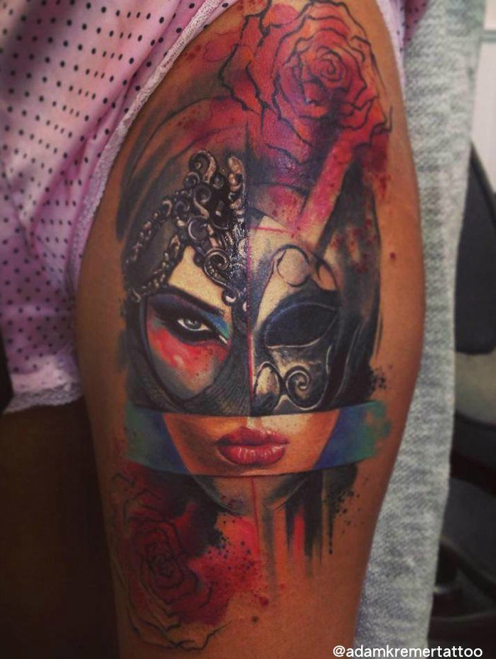 Abstract style colored tattoo of woman face with mask and rose