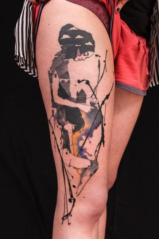 Abstract style colored thigh tattoo of woman stylized with house