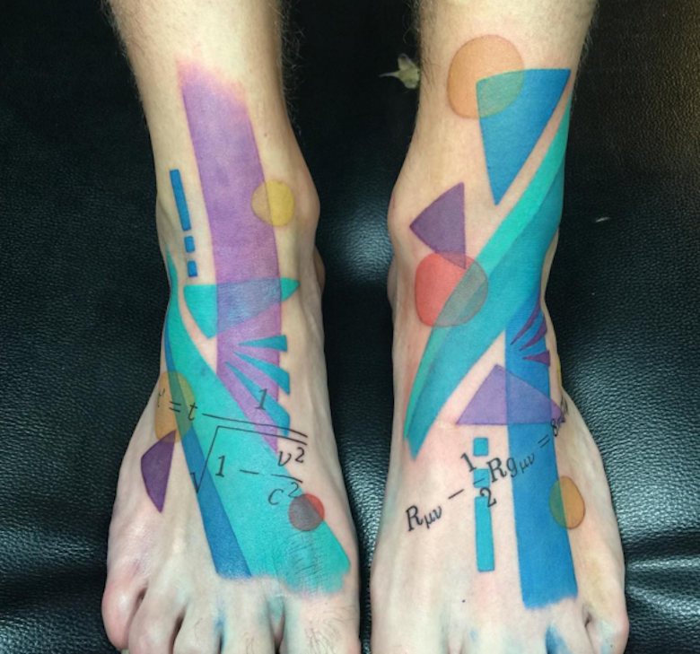 Abstract style colored various geometrical figures tattoo on feet with mathematical formulas