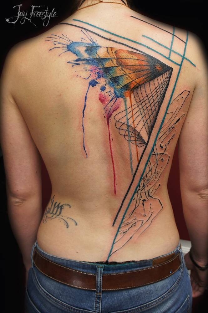 Abstract style colored whole body tattoo of mystical symbol