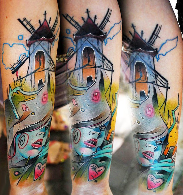 Abstract style colored wind mill with woman face tattoo