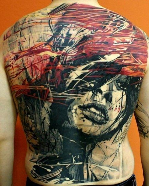 Abstract style colorful whole back tattoo of mystical woman portrait