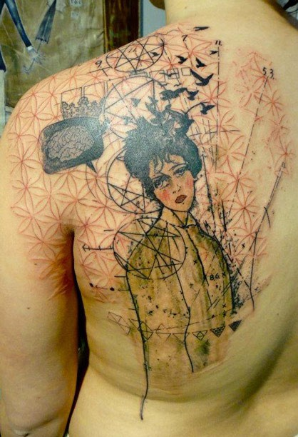 Abstract style detailed scapular tattoo of sad woman with birds and ornaments