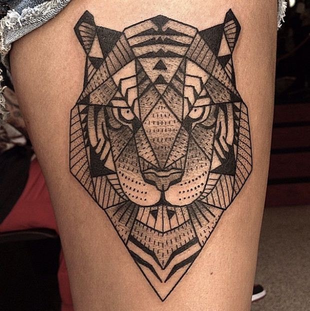 Abstract style geometrical black ink thigh tattoo of angry tiger