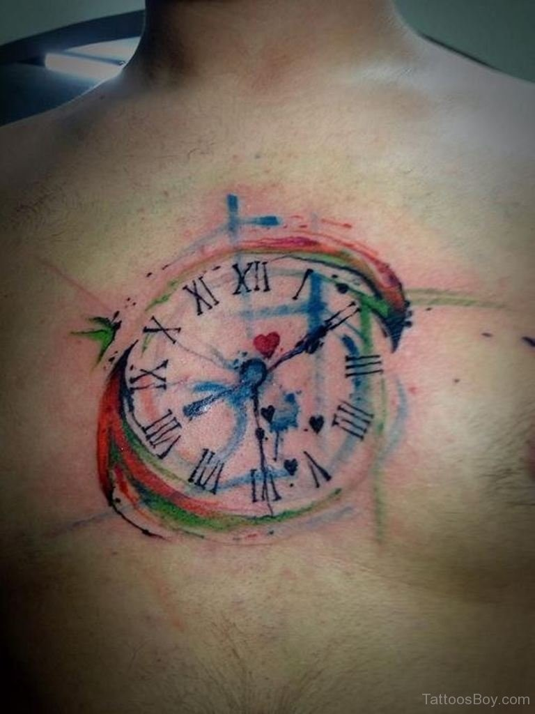 Abstract style homemade colored chest tattoo of mystical clock
