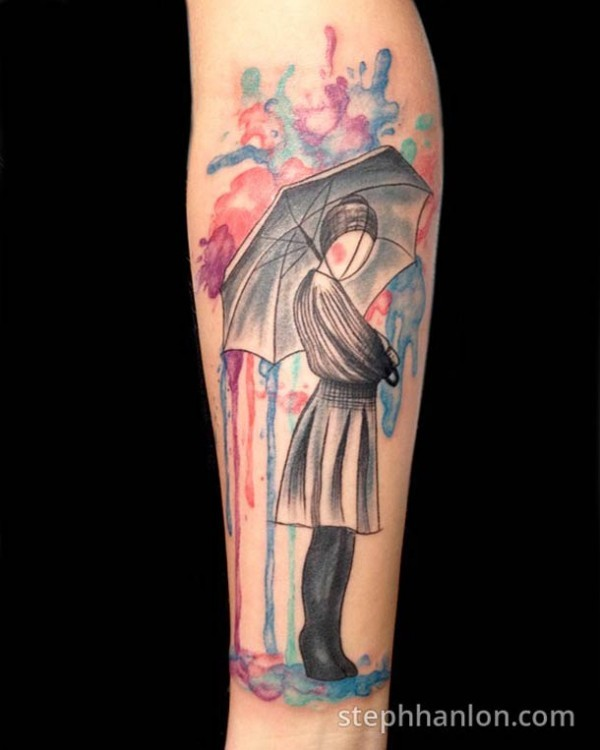 Abstract style illustrative forearm tattoo of woman with umbrella