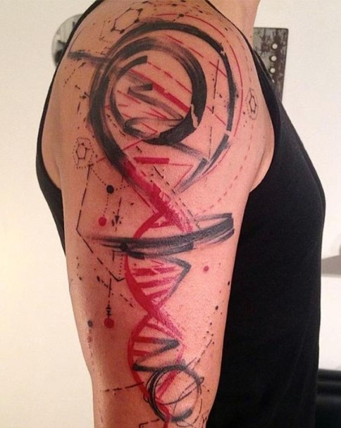 Abstract style multicolored DNA tattoo on arm
