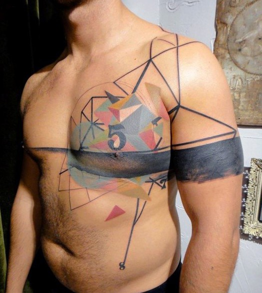 Abstract style multicolored geometrical tattoo on chest with number