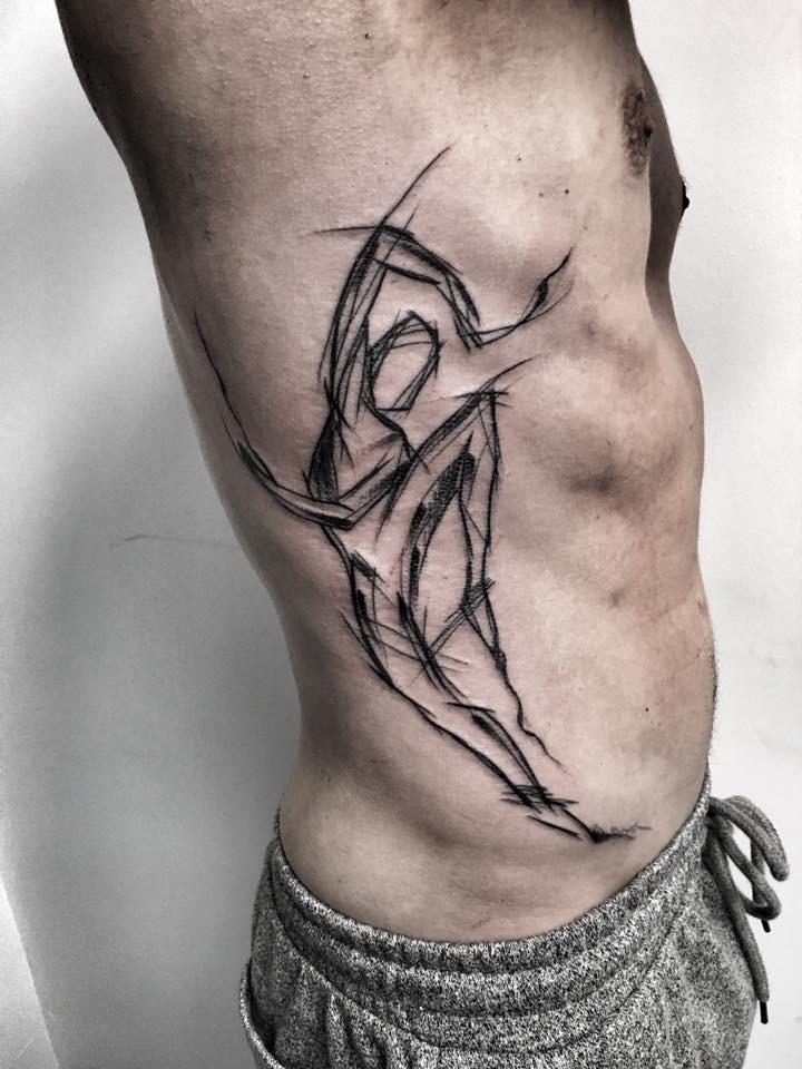Stile astratto dipinto dal tatuaggio laterale di Inez Janiak del ballerino umano