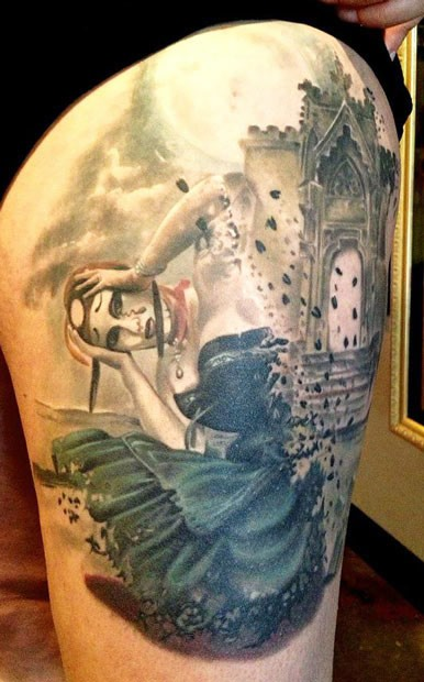 Abstract style thigh tattoo of interesting woman with medieval house