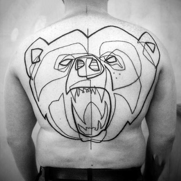 Abstract style unfinished black ink bear shaped tattoo on whole back