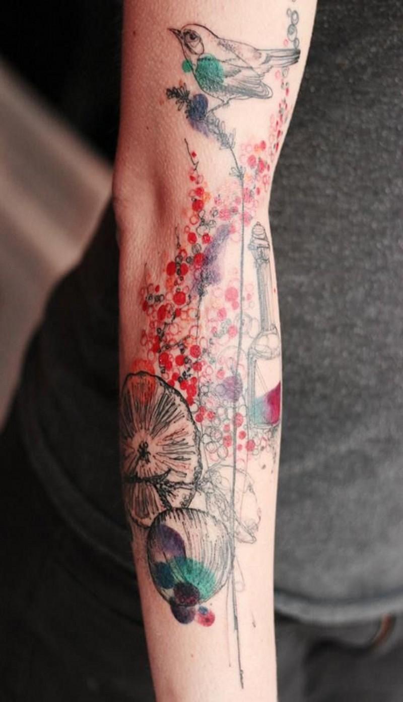 astratto stile acquerello dipinto di grande natura tatuaggio avambraccio