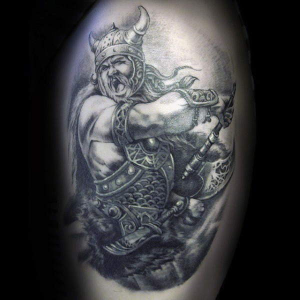 Accurate black ink fantasy world detailed tattoo of fighting warrior with axe
